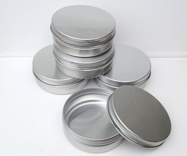 Small metal tins blank round silver color 100ml screw for Small tin containers