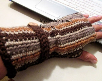 NEW - Crochet Striped Fingerless Gloves in Shades of Brown - Customize Your Color