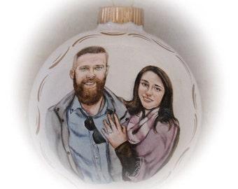 Custom portrait ornament, portrait painting, engagement christmas ornament,  hand painted 4 inch Christmas glass ball