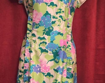 1950's Floral acetate floral day dress  , Sears Fashion Board