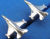 Sterling Silver F-16 Cuff Links, hand crafted recycled sterling silver