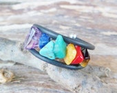 7 Chakra Ring. Tiger Eye, Coral, Amazonite, Amber, Turquoise, Lapis Lazuli And Amethyst. Adjustable Ring. Mineral Ring. Chakra Stone.
