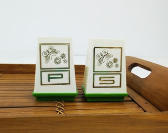 Vintage salt and pepper shakers, green & white with butterflies, retro kitchen decor