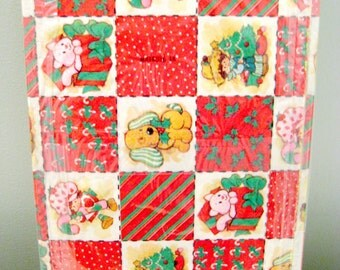 Vintage Strawberry Shortcake Christmas Quilt Wrapping Paper