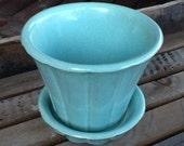 McCoy Pottery planter turquoise McCoy USA