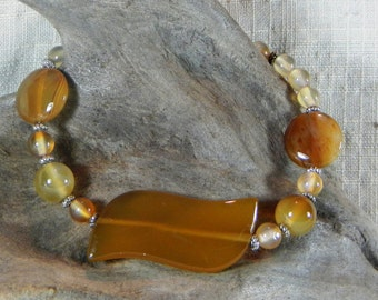 """Yellow agate multiple shape bracelet 8.5"""" long multi shapes lobster clasp semiprecious stone jewelry packaged in a gift bag 10333"""