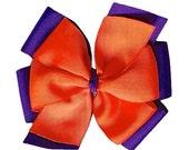 Orange and Purple Extra Large Layered Hair Bow - Clemson - Etsykids Team