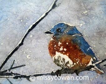 WINTER BLUEBIRD - Giclee Print of Original Watercolor Painting