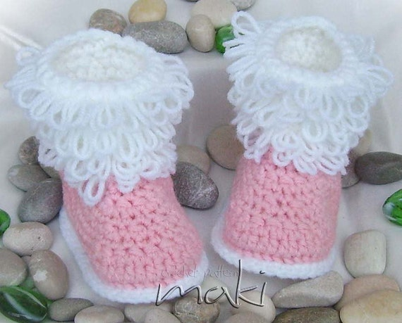 Crochet pattern - Baby boots - Loop stitch - No sewing - PDF! Full of ...