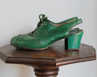 1940s Lace up Slingbacks // RARE Green Lace Up Heels // vintage 40s peep toe slingback heels