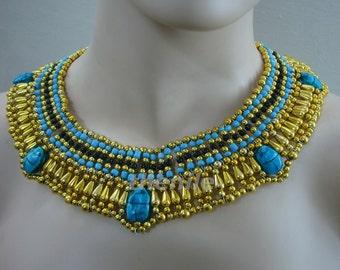 Egyptian Queen Cleopatra Necklace 5 Scarabs Halloween Mega Sale