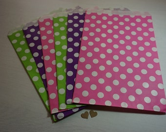 10 Large Flat Paper Bags ~ *Purple*Lime Green*Hot Pink with White Polka Dot Design