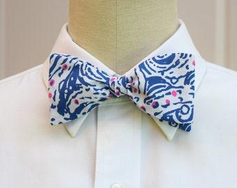 Men's Bow Tie in Lilly dark cobalt blue and pink accent Star Crush, self-tie bow tie, groomsmen's gift, wedding party wear, formal menswear