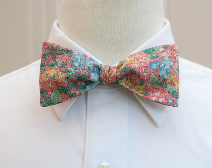 Men's Bow Tie, Liberty of London, coral/green/aqua floral print, groomsmen/groom bow tie, wedding bow tie, Prince George, English bow tie