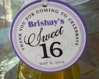 """Sweet 16 Custom 2"""" Birthday Thank You Tags - For Mason Jar Favors - Cookies - Mini Wine or Champagne Bottles - (60) Personalized Tags"""