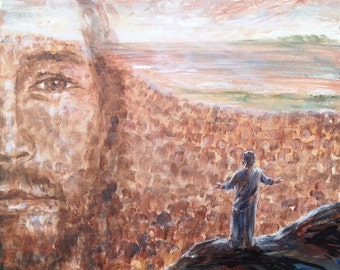 Jesus portrait - original painting depicting The Sermon on the Mount - custom made in your choice of size