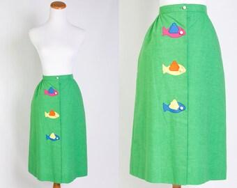 Vintage 1970s Green Button Front Fish Skirt w/ Pockets // Pink Blue Yellow Orange //  Preppy Beach Resort // Size Medium // FREE SHIPPING