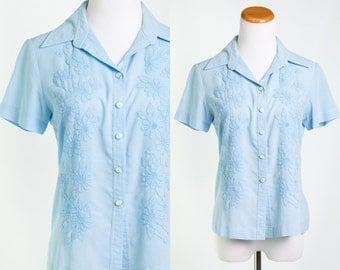 70's Blue Floral Collared Button Down Shirt // Retro Style Buttondown Vintage Size Medium