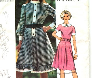 70s Simplicity 9849 Peter Pan Collar Dress Flared Skirt - Size 14 Bust 36