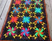 Quilt Pattern, quilt, Party Time, jewel tone, sewing, quilting, lap quilt, quilt design, pinwheel, pdf pattern