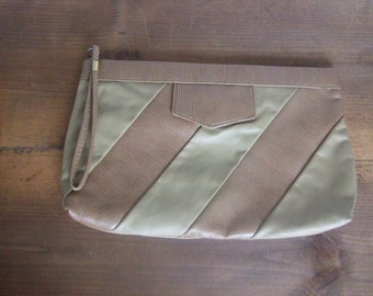 Vintage Leather Wristlet Clutch Diagonal Stripe Design