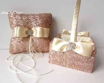 Sequin Flower Girl Basket and Wedding Ring Pillow Set - Custom Made