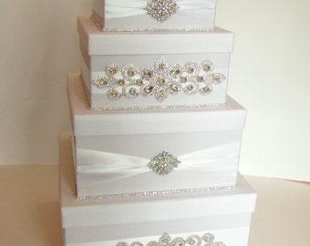 Wedding Card Box, Bling Card Box, Rhinestone Money Holder, Custom handmade 4 tier money box