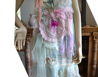 Unique Art To Wear Turquoise/Mint Dress With Lase Old Doilies ANTOINETTE SHEPHERDES Fairy Romantic Tattered Gipsy