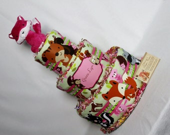 Baby Diaper Cakes Woodland Animals Pink Fox Baby Rattle Shower Gift or Centerpiece