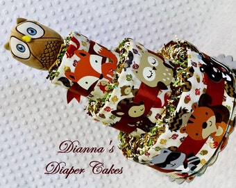 Woodland Animals Baby Diaper Cake Select Ribbon Color and Topper Shower Gift Centerpiece