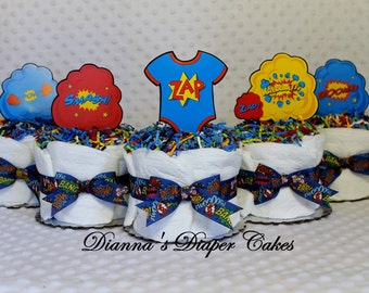 Superheros Baby Diaper Cakes Set of 5 Cupcakes Shower Gift or Centerpiece