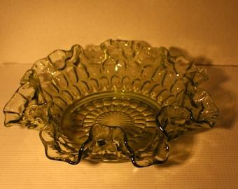 Mid Century Modern mcm vintage green glass bowl rippled edges