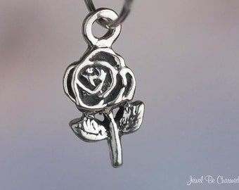 Miniature Sterling Silver Rose Charm Roses Flower Small Tiny Solid 925