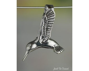 Sterling Silver 3D Hummingbird CHARM or PENDANT Hummingbirds Solid 925