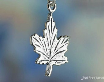 Sterling Silver Maple Leaf Charm Tree Leaves Autumn Canada Solid .925