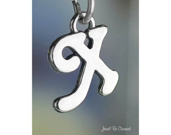 Sterling Silver Script Letter X Charm Initial Cursive Shiny Solid .925
