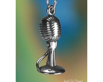 Sterling Silver Microphone Charm Singer Music Musician 3D Solid .925