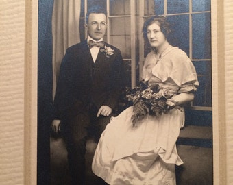 Vintage Wedding Photo - Woman and Man - Rose and Fern Bouquet - Antique Photo
