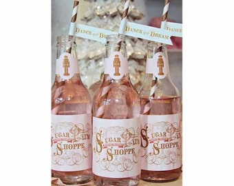 Sugar Plum Fairy Glass Bottle Wraps by Loralee Lewis