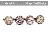 CUSTOM Vintage Map Cufflinks. One Pair. You Select two Locations. Anywhere In The World. Gifts. Wedding. Groom. Dad. Grandfather. Men. Him.