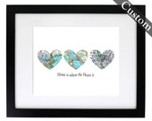 Framed CUSTOM Three Heart Map Art Print. You Select Locations Worldwide. Personaized Text. Optional Frame. Home Is Where The Heart Is