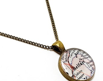 Belfast Map Necklace. Belfast Necklace. Made With A 1950 Vintage Map. Ready To Ship. Northern Ireland Map Pendant Jewelry. Travel Gifts.