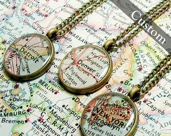 Personalized Map Necklace. Deep Pendant Design. You Pick City, State, or Country. Worldwide. One Necklace. Map Pendant. Map Jewelry.