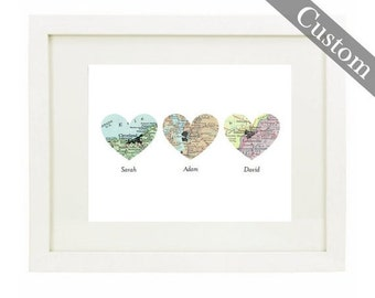 Framed CUSTOM Three Heart Map Art Print. You Select Locations Worldwide. Personaized Text. Optional Frame. Gifts. Wedding. Anniversary. Mom