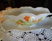 Hand Painted Porcelain Gravy Boat Humming Bird Trumpet flower Design