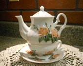Tea for One Teapot Set  Hand painted Peach Cottage Roses