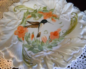 Porcelain Kitchen Platter Hand painted Ruby Throated Humming Bird and Trumpet Vine flowers design