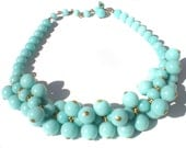 """Light Blue Necklace with Chunky Cha-Cha Style Plastic Beads on Gold Tone Brass Adjustable to 16"""" Inches"""