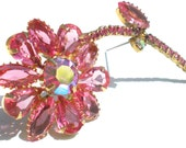 Bright Pink Rhinestone Flower Brooch with Aurora Borealis on Gold Tone