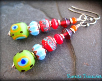 Handmade Funky Indonesian Glass Dangle Earrings, Tribal Ethnic Earrings, Red Tibetan Mala Beads, African Earrings, Global Jewelry